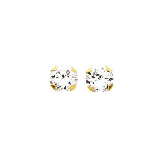 Boucles d'oreilles Or et oxyde de zirconium diamètre 5 mm