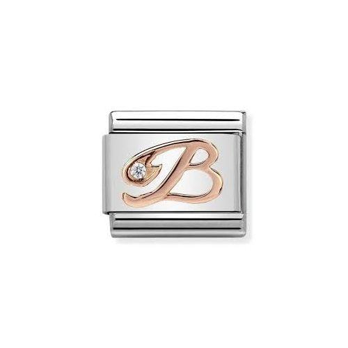 Maillon Nomination classic Lettre B en Or rose et pierre
