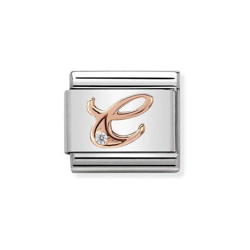Maillon Nomination classic Lettre C en Or rose et pierre