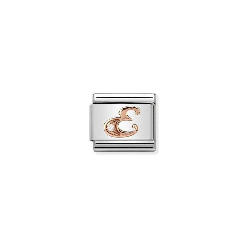 Maillon Nomination classic Lettre E en Or rose et pierre