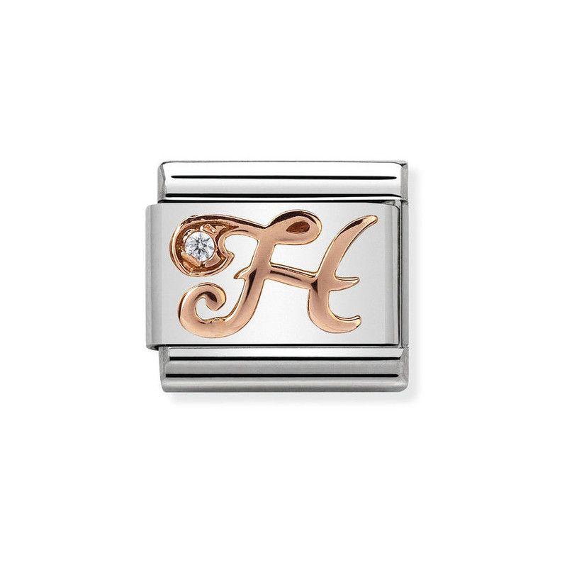 Maillon Nomination classic Lettre H en Or rose et pierre