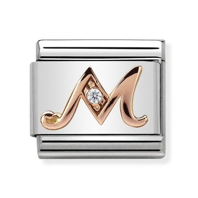 Maillon Nomination classic Lettre M en Or rose et pierre