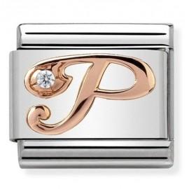 Maillon Nomination classic Lettre P en Or rose et pierre