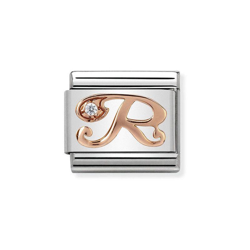 Maillon Nomination classic Lettre R en Or rose et pierre