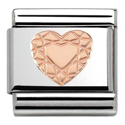 Maillon Nomination classic coeur faceté Or rose