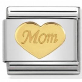 Maillon Nomination classic coeur Mom en or