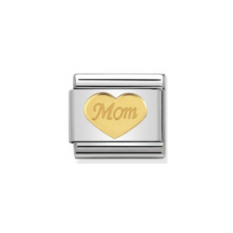 Maillon Nomination classic coeur Mom en or