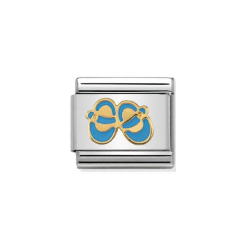Maillon Nomination classic chaussons bleus en Or