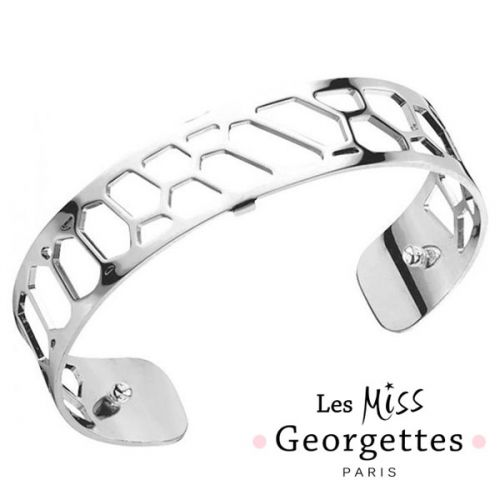 Bracelet manchette miss Les Georgettes motif nid d'abeille plaqué Argent