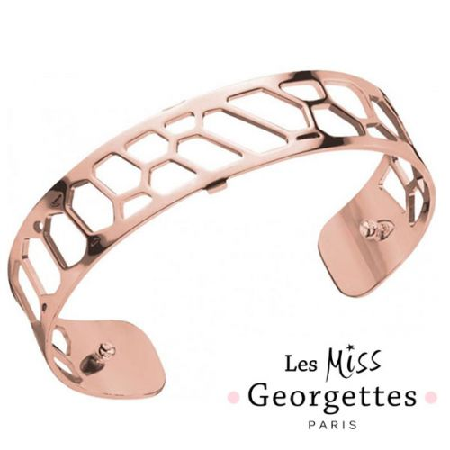 Bracelet manchette miss Les Georgettes motif nid d'abeille finition Or rose