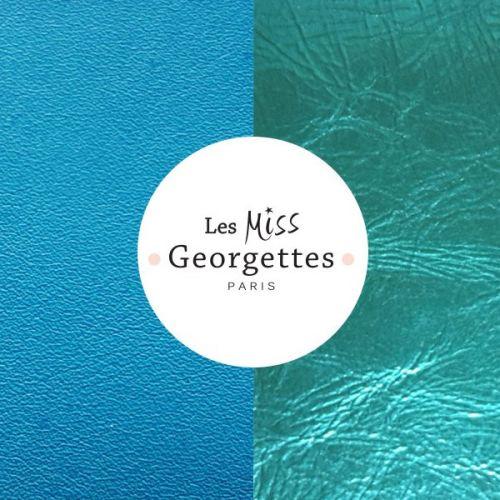 Cuir reversible miss les Georgettes turquoise/bleu