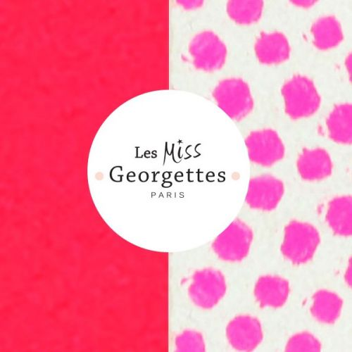Cuir reversible miss les Georgettes rose fluo/pois rose