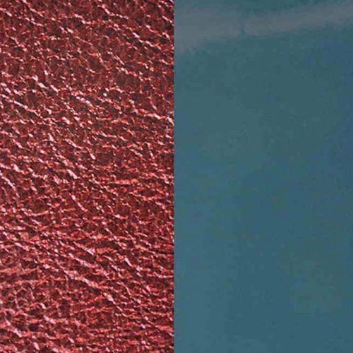 Cuir reversible les Georgettes bleu jeans vernis/bordeau métal