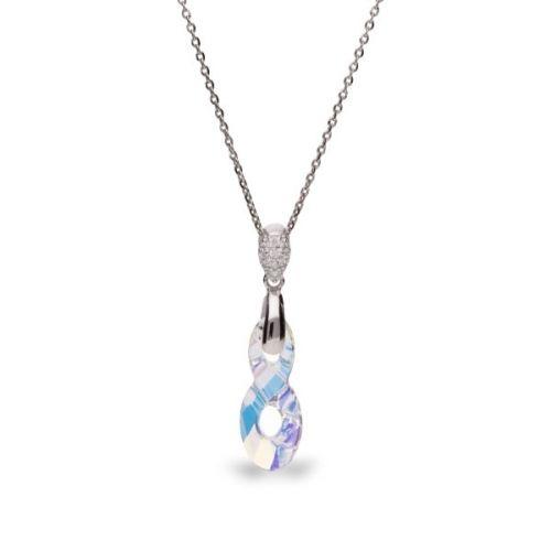Collier Spark Argent et cristaux de Swarovski motif infini blanc