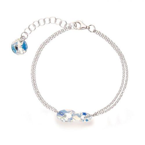 Bracelet Spark Argent et cristaux Swarovski motif infini blanc