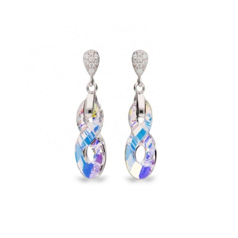 Boucles d'oreilles Spark Argent et cristaux de Swarovski motif infini blanc