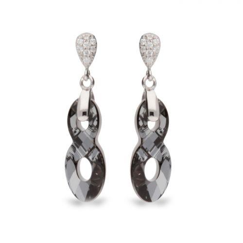 Boucles d'oreilles Spark Argent et cristaux de Swarovski motif infini noir