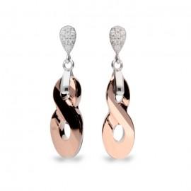Boucles d'oreilles Spark Argent et cristaux de Swarovski motif infini rose