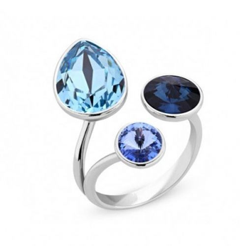 Bague Spark Argent et cristaux de Swarovski bleus