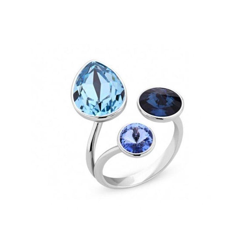 Bague Argent et cristaux de Swarovski bleus