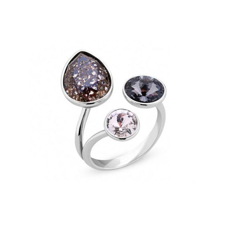 Bague Argent et cristaux de Swarovski noirs et blancs