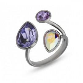 Bague Argent et cristaux violets