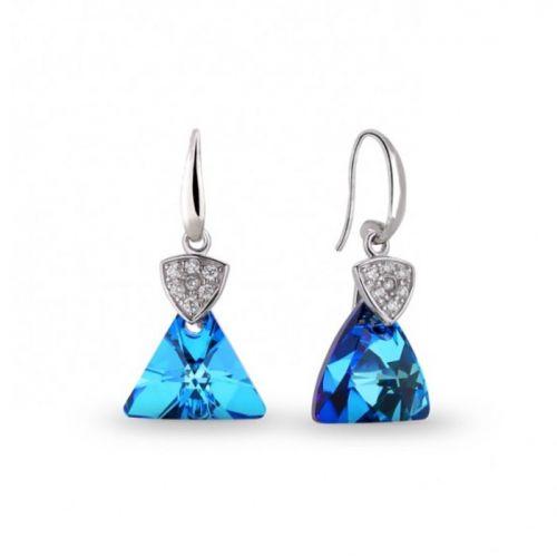 Boucles d'oreilles Spark Argent et cristaux triangle bleu