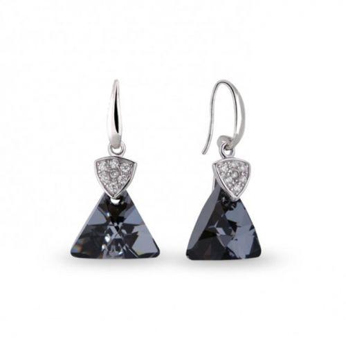 Boucles d'oreilles Spark Argent et cristaux triangle noir