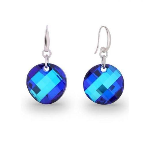 Boucles d'oreilles Spark Argent et cristaux de Swarovski rond bleu