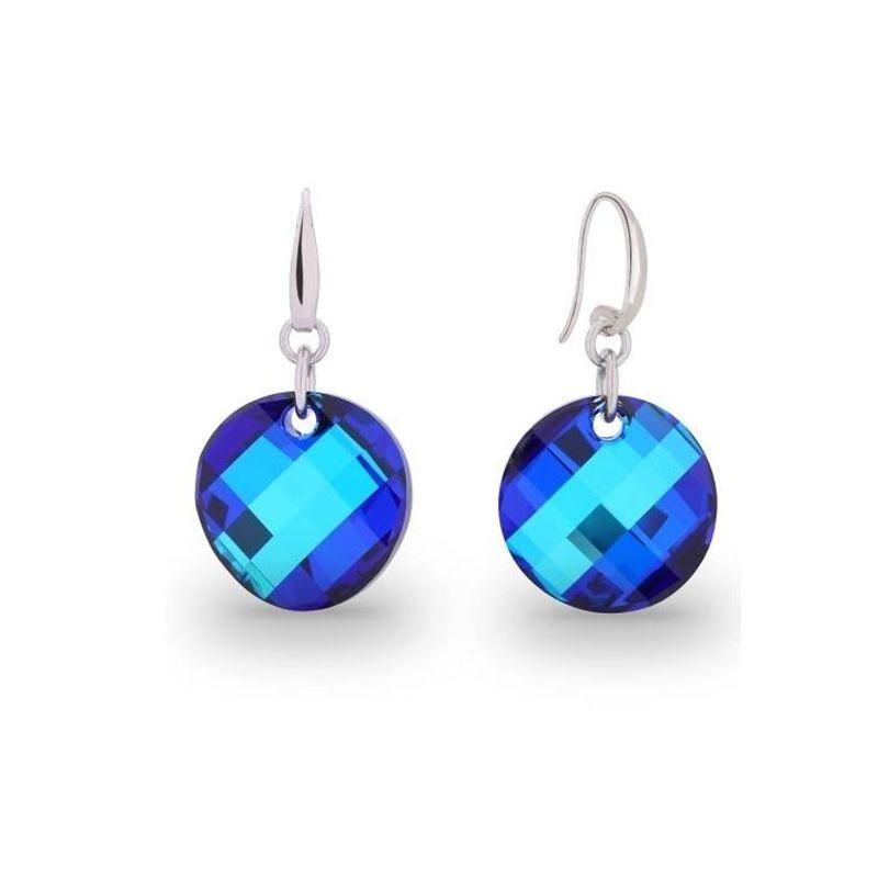 Boucles d'oreilles Spark Argent et cristaux rond bleu