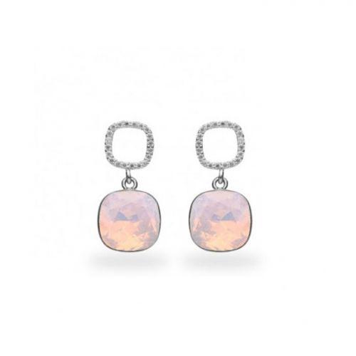 Boucles d'oreilles Spark Argent et cristaux de Swarovski roses