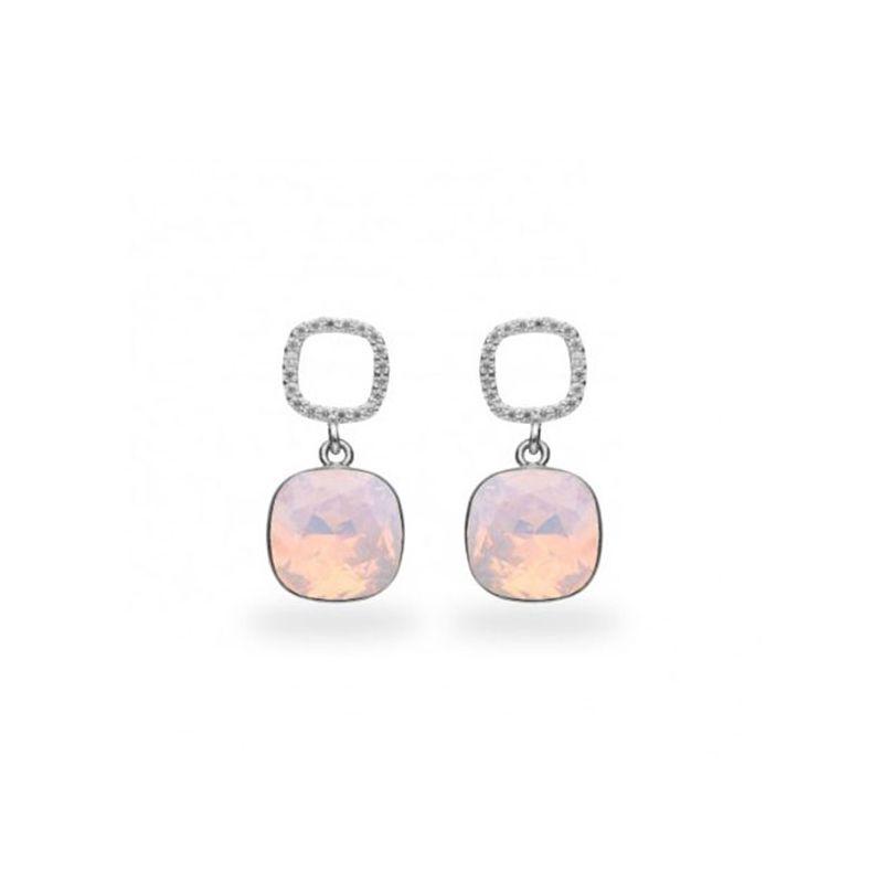 Boucles d'oreilles Spark Argent et cristaux roses