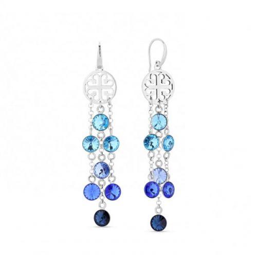 Boucles d'oreilles Spark Argent et cristaux de Swarovski pendantes bleues