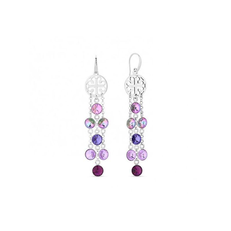 Boucles d'oreilles Spark Argent et cristaux de Swarovski pendantes violettes