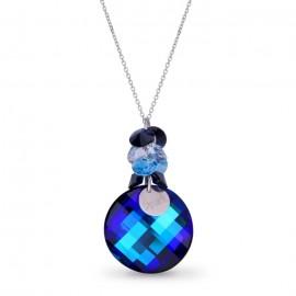 Collier Spark Argent et cristaux rond bleu