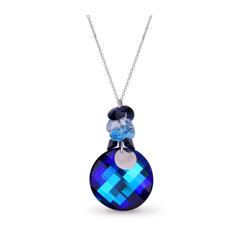 Collier Spark Argent et cristaux de Swarovski rond bleu