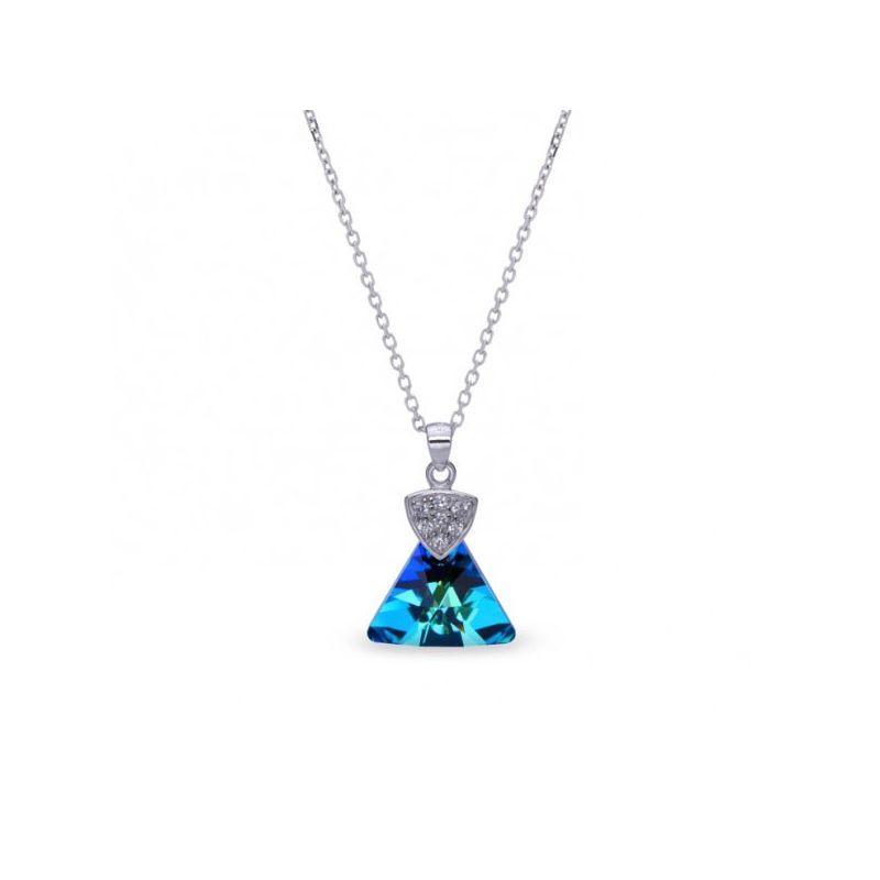 Collier Spark Argent et cristaux triangle bleu