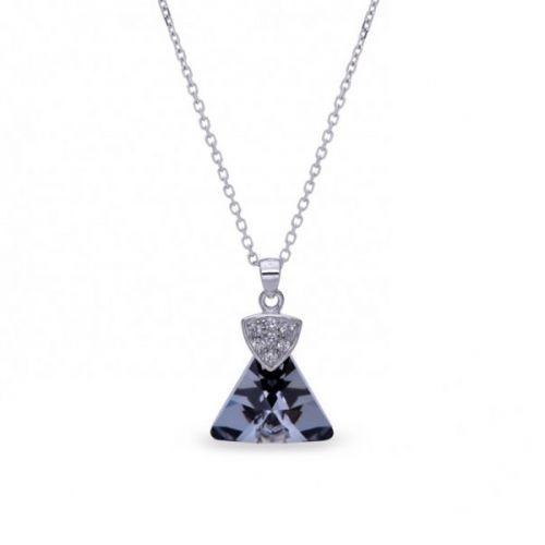 Collier Spark Argent et cristaux triangle noir
