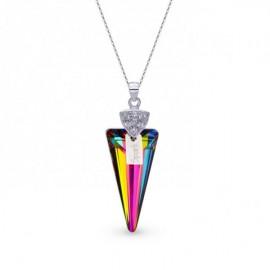 Collier Spark Argent et cristaux motif glaive