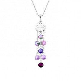 Collier Spark Argent et cristaux de Swarovski violets