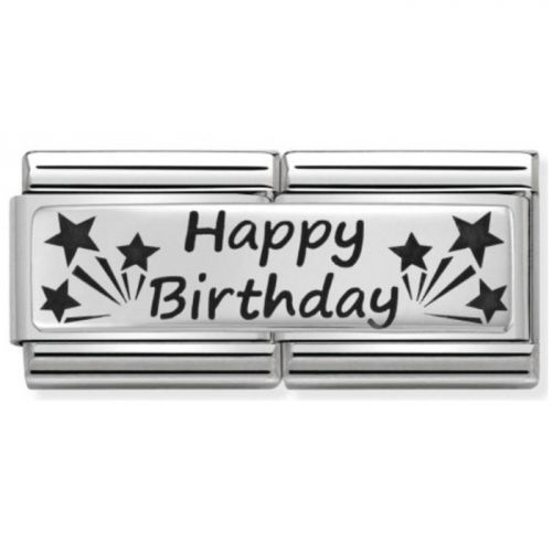 Maillon Nomination classic double Plaque Happy Birthday