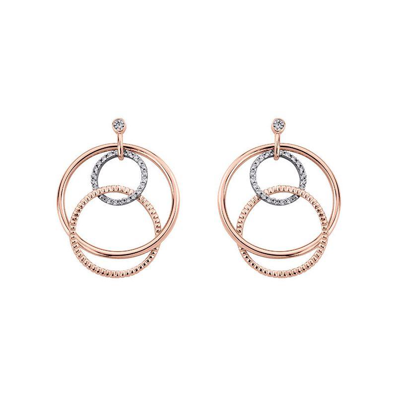 Boucles d'oreilles plaqué Or rose et oxyde de zirconium