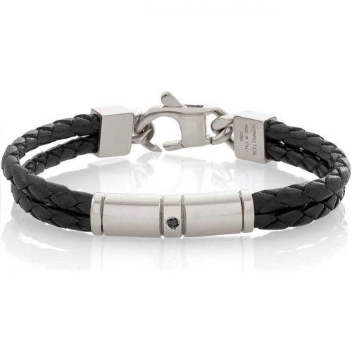 Bracelet Nomination acier et cuir noir