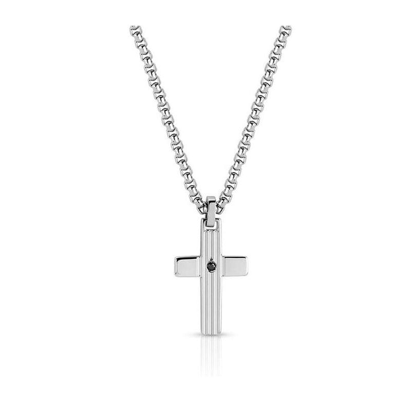 Collier homme acier avec pendentif croix