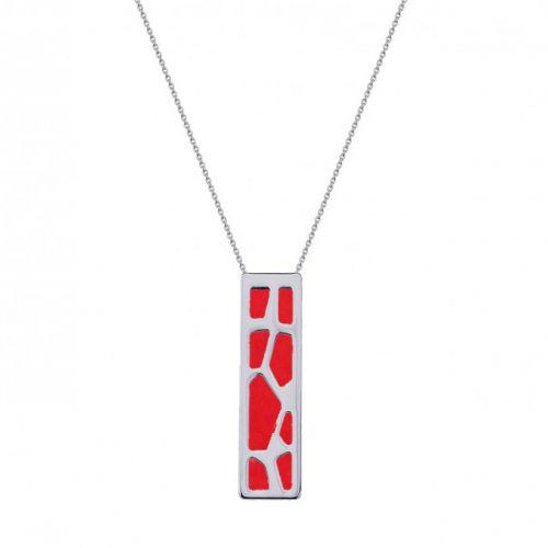 Collier femme Les Georgettes finition Argent motif girafe et cuir reversible