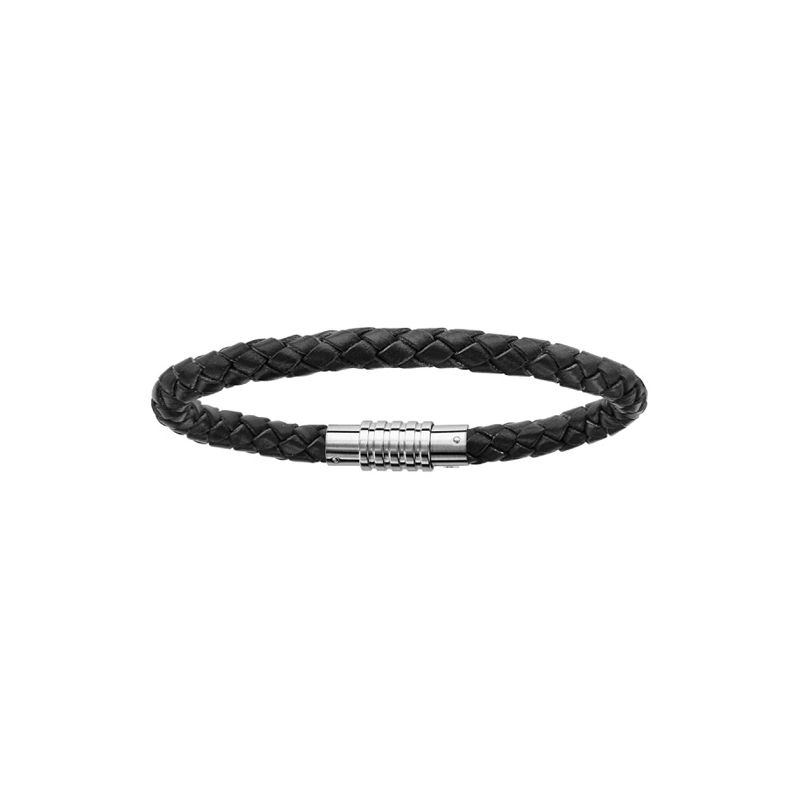 Bracelet acier et cuir noir tressé