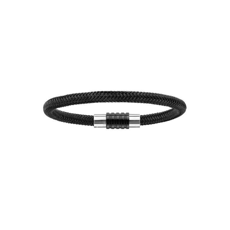 Bracelet acier tressé et motif pvd noir