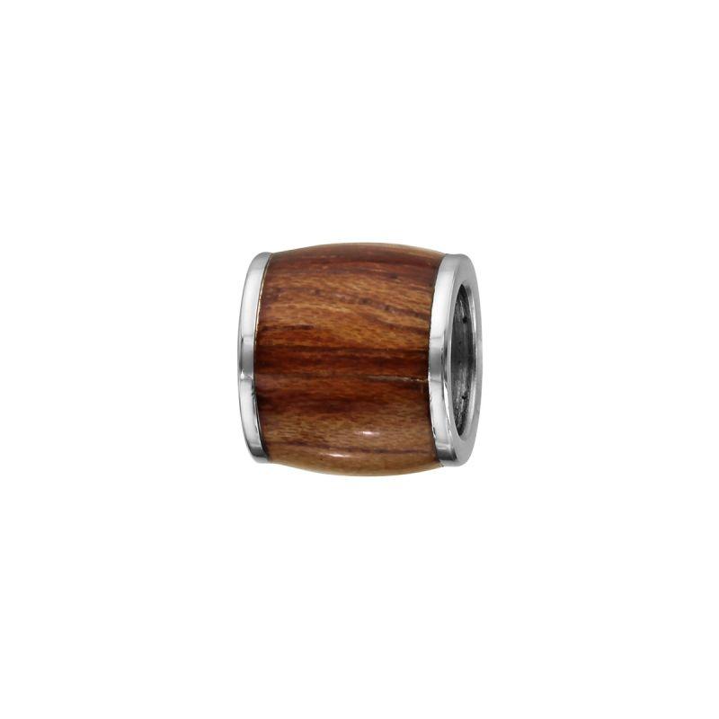 Charms bracelet homme acier imitation bois