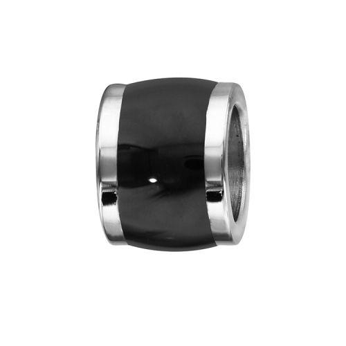 Charms bracelet homme acier tonneau noir