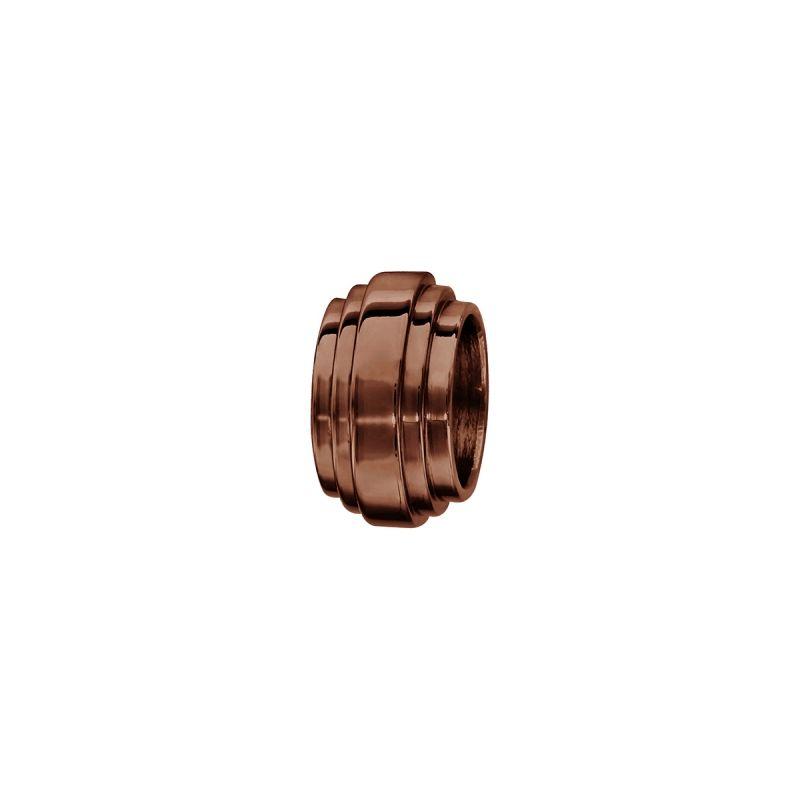 Charms bracelet homme acier godron marron